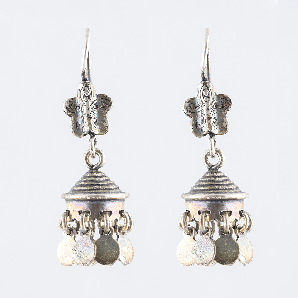 Butterfly Silver Jhumka