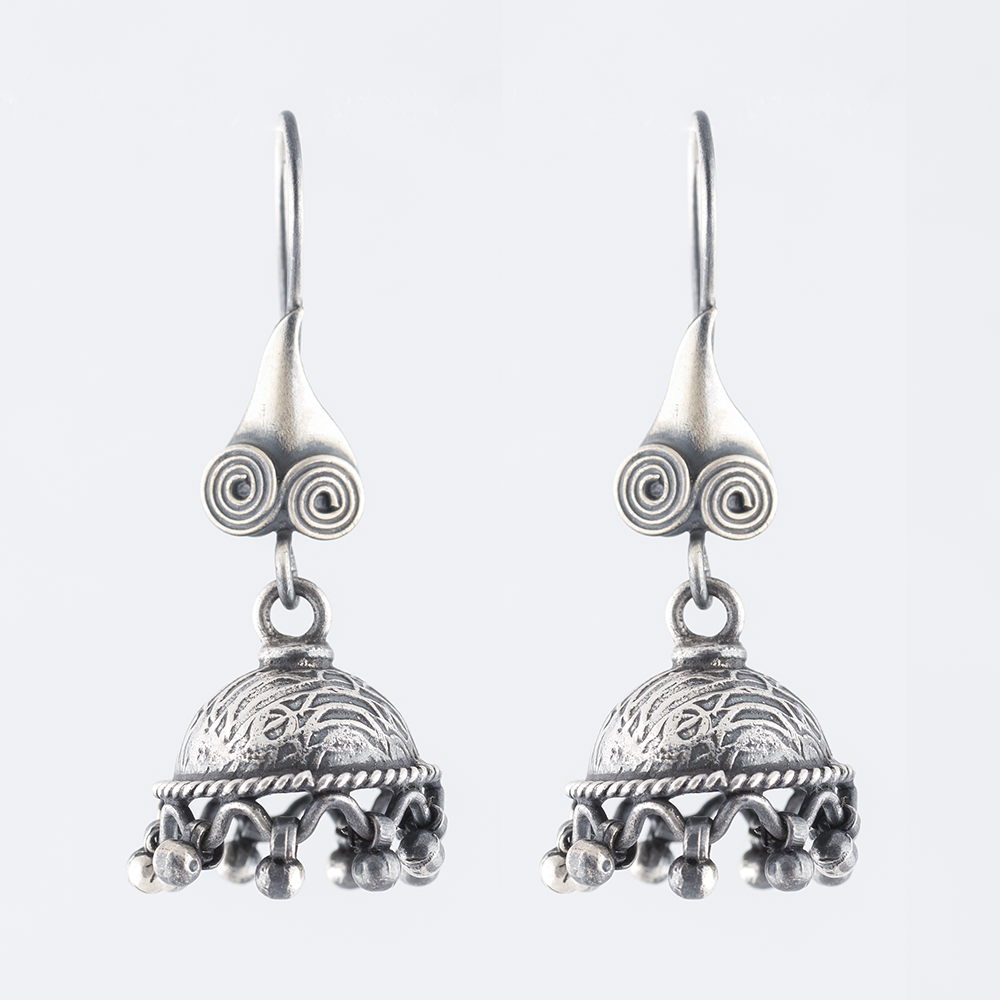 Tribal Drop Silver Jhumka