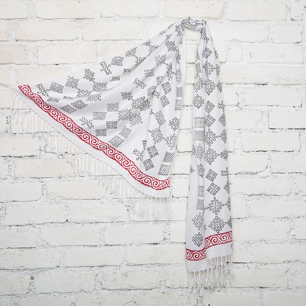 Red & White Kolam Blockprinted Cotton Stole