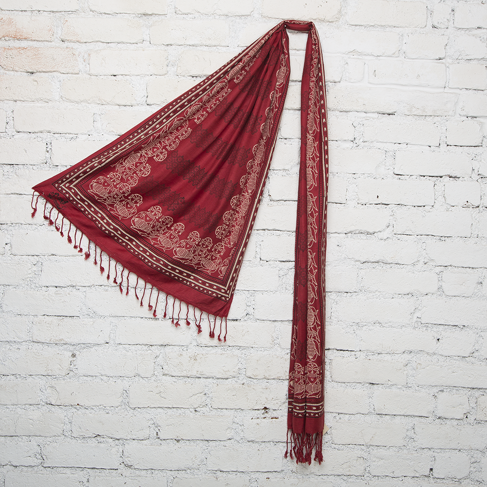 Mridangam & Kolam Blockprinted Cotton Stole