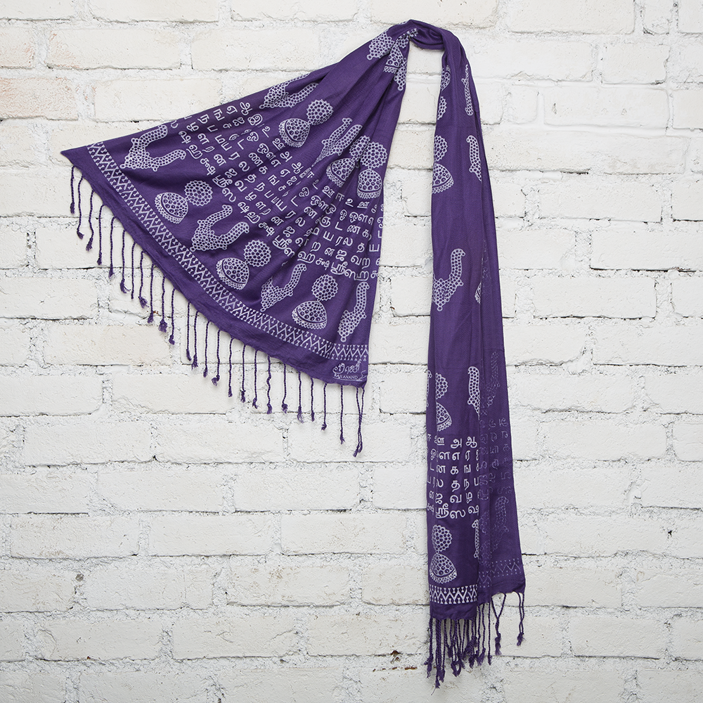 Purple Temple Jewelry Blockprinted Cotton Stole