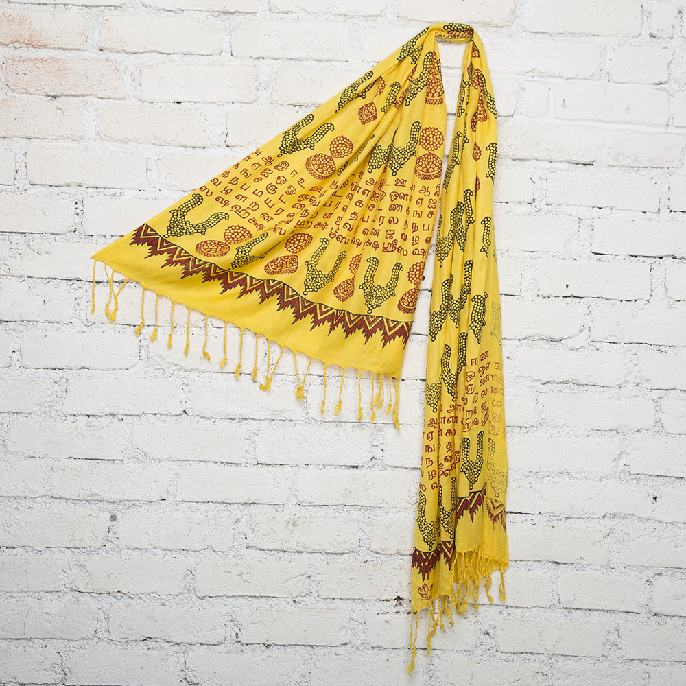 Yellow Temple Jewelry Blockprinted Cotton Stole