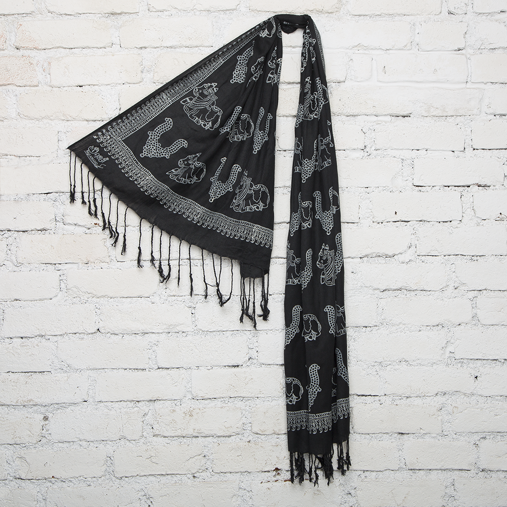 Cow & Temple Jewelry Blockprinted Cotton Stole