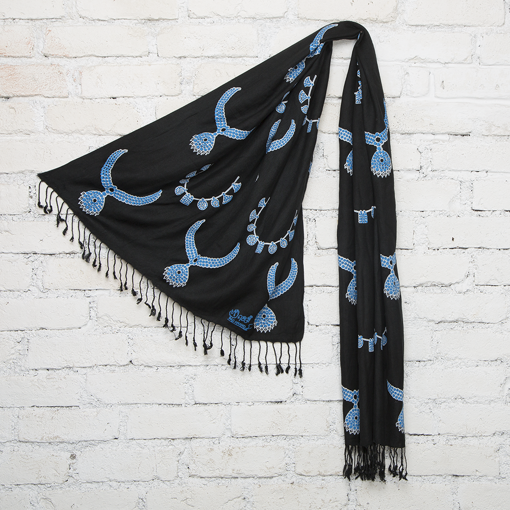 Black & Blue Temple Jewelry Bockprinted Cotton Stole
