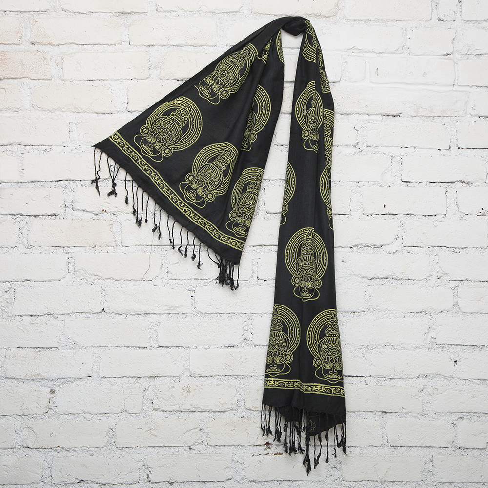Black & Yellow Kathakali Face  Blockprinted Cotton Stole