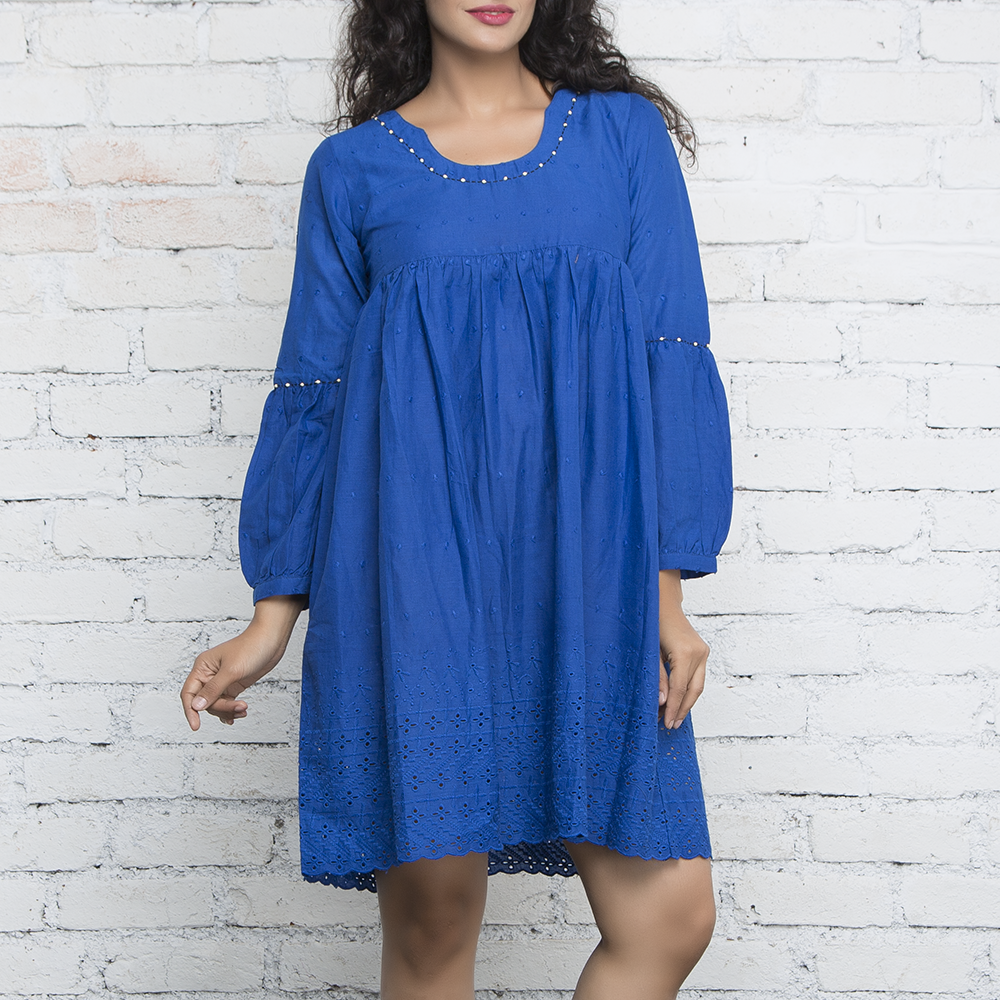 Blue Full Sleeves Dress