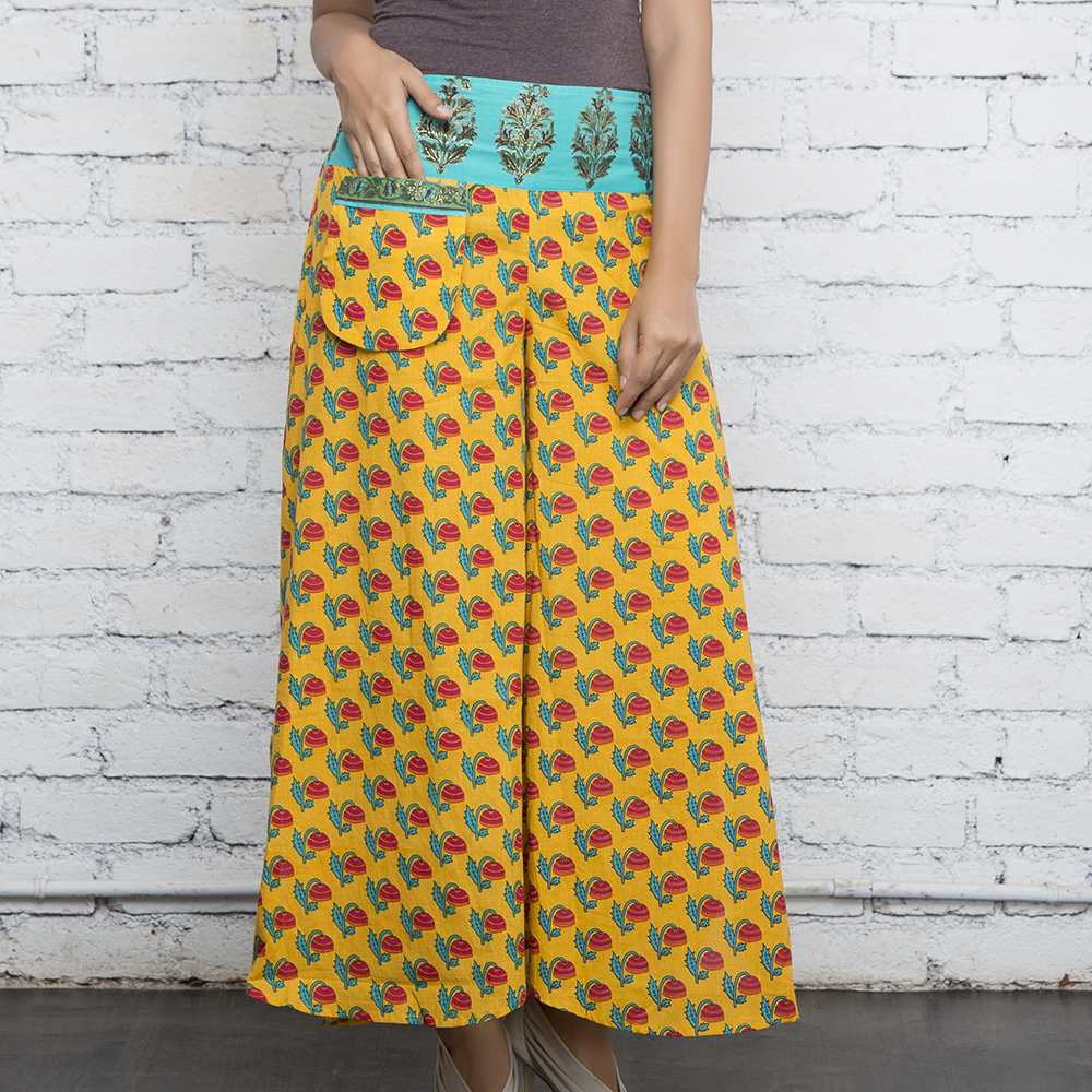 Green Blockprinted Pants