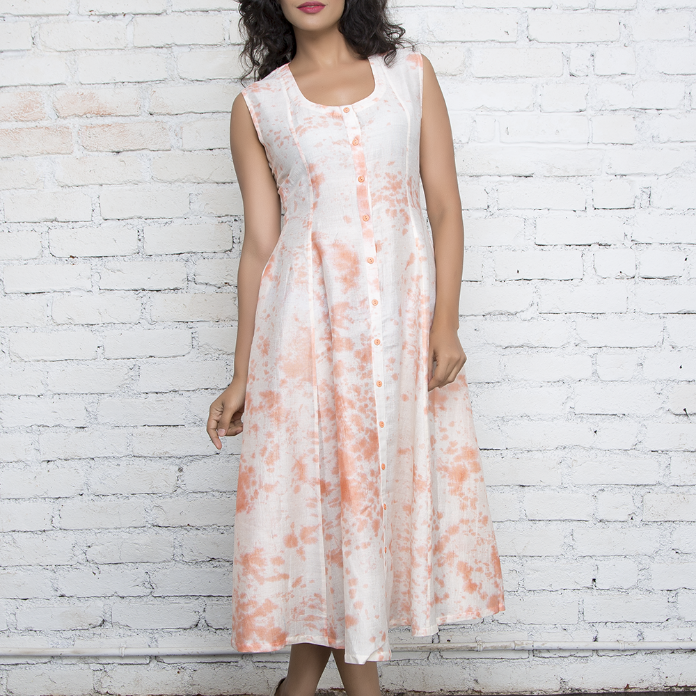 Peach & Ecru Marble Tie & Dye long Shirt Dress