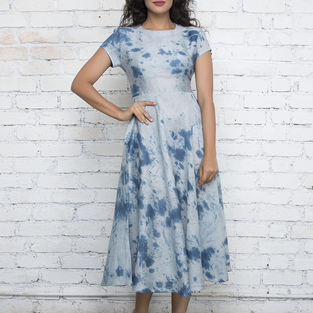 Grey & Blue Marble Tie & Dye Dress