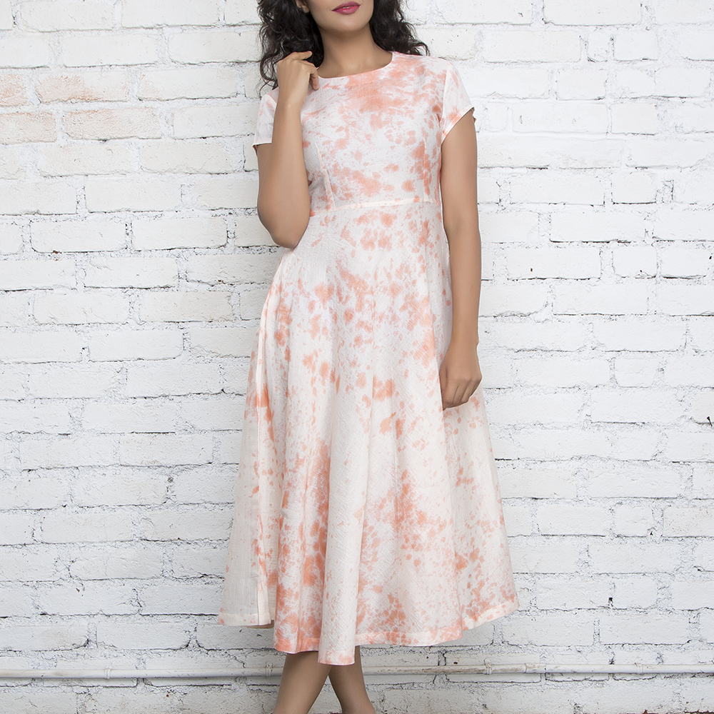 Peach & Ecru Marble Tie & Dye Dress