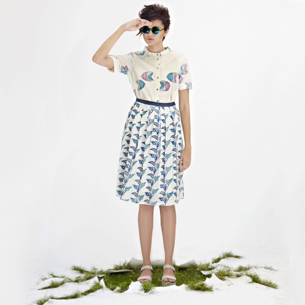 JODI Cotton Hand-blocked Foral Print Pleated Skirt