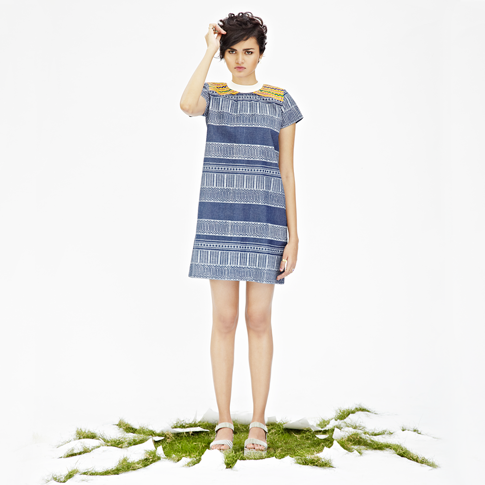 JODI Denim Hand-blocked Geometric Print Shift Dress