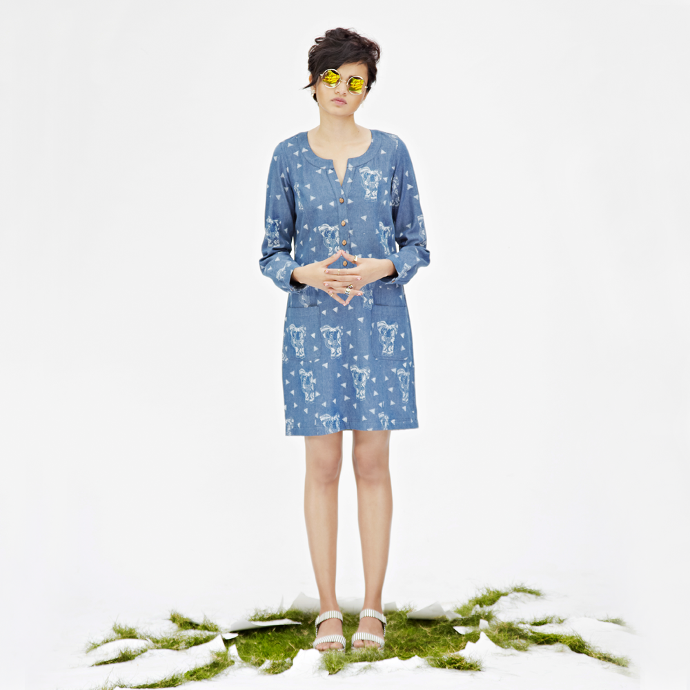 JODI Denim Hand-blocked Elephant Print Shift Dress