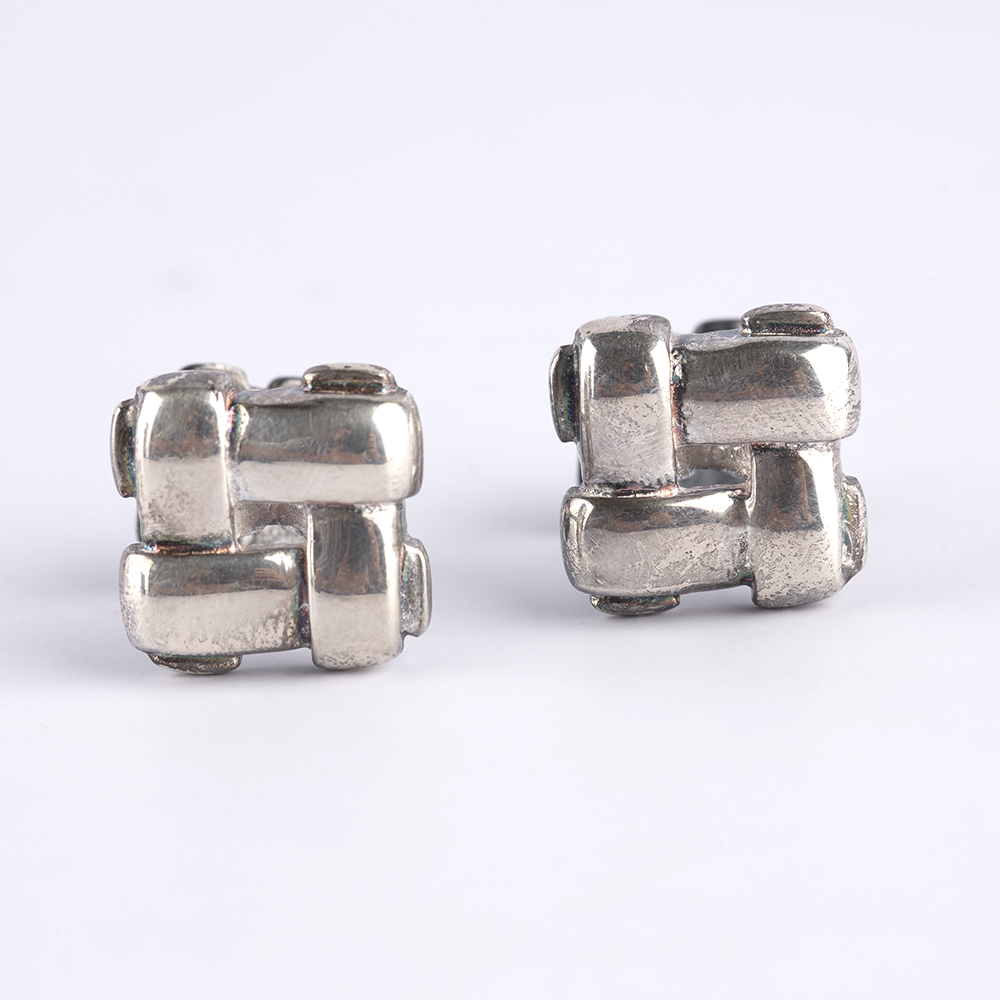 Criss Cross Silver Cufflinks