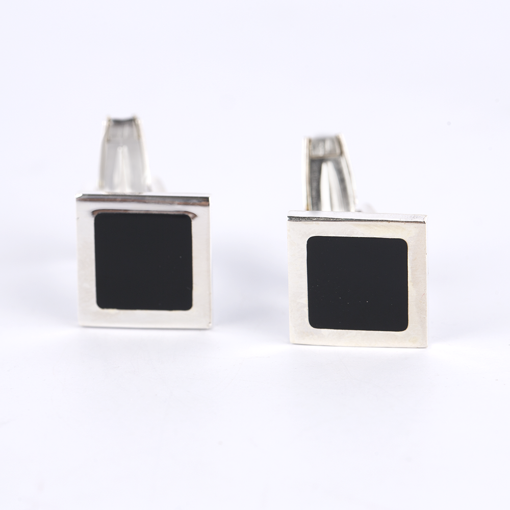 Black Square Silver Cufflinks