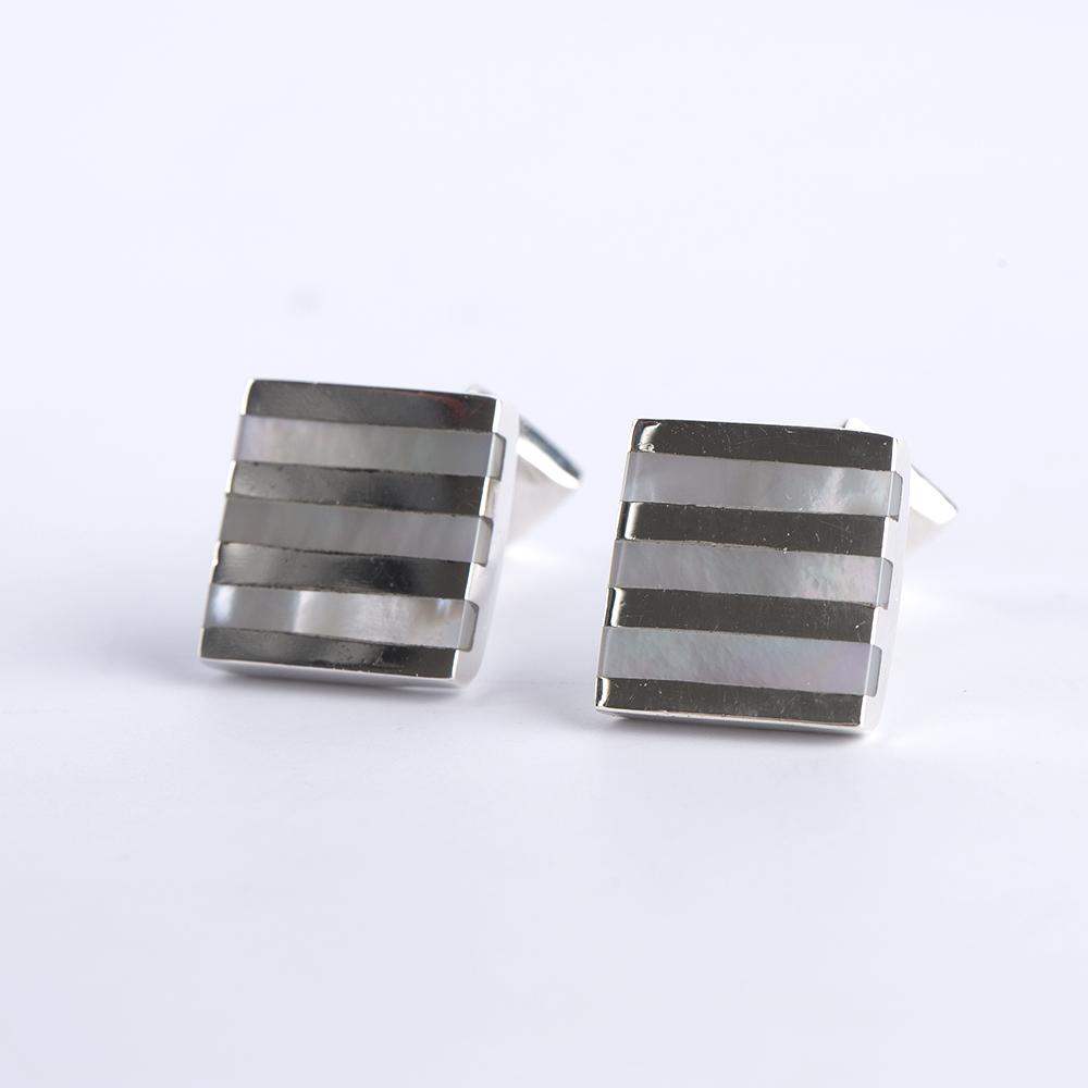 Striped Silver Cufflinks