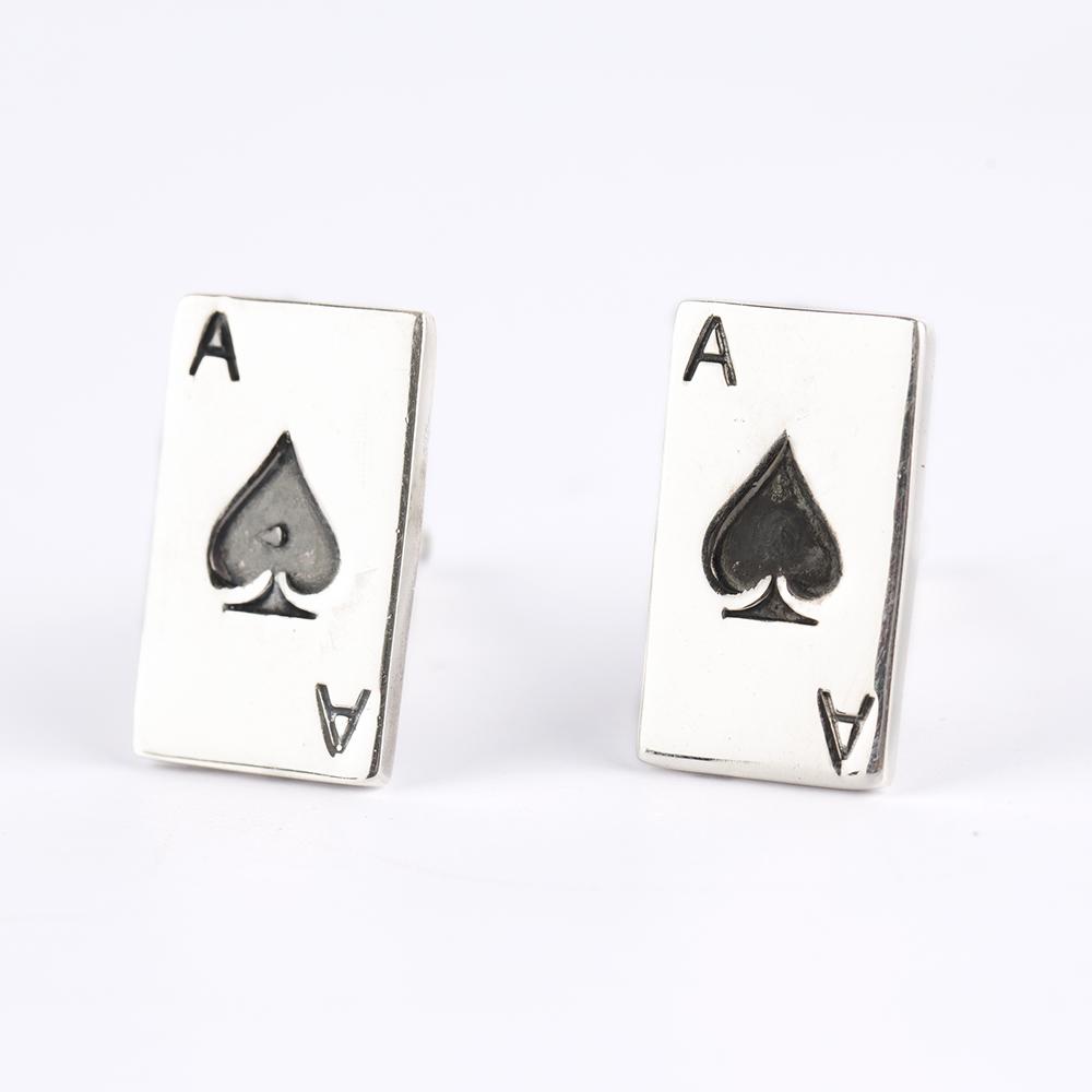 Poker Silver Cufflinks