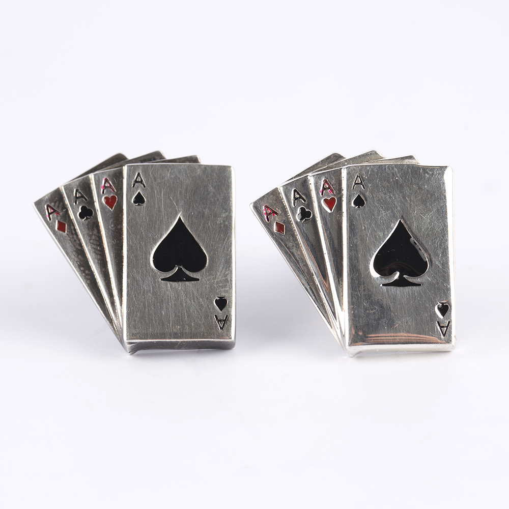 Poker Cards Silver Cufflinks