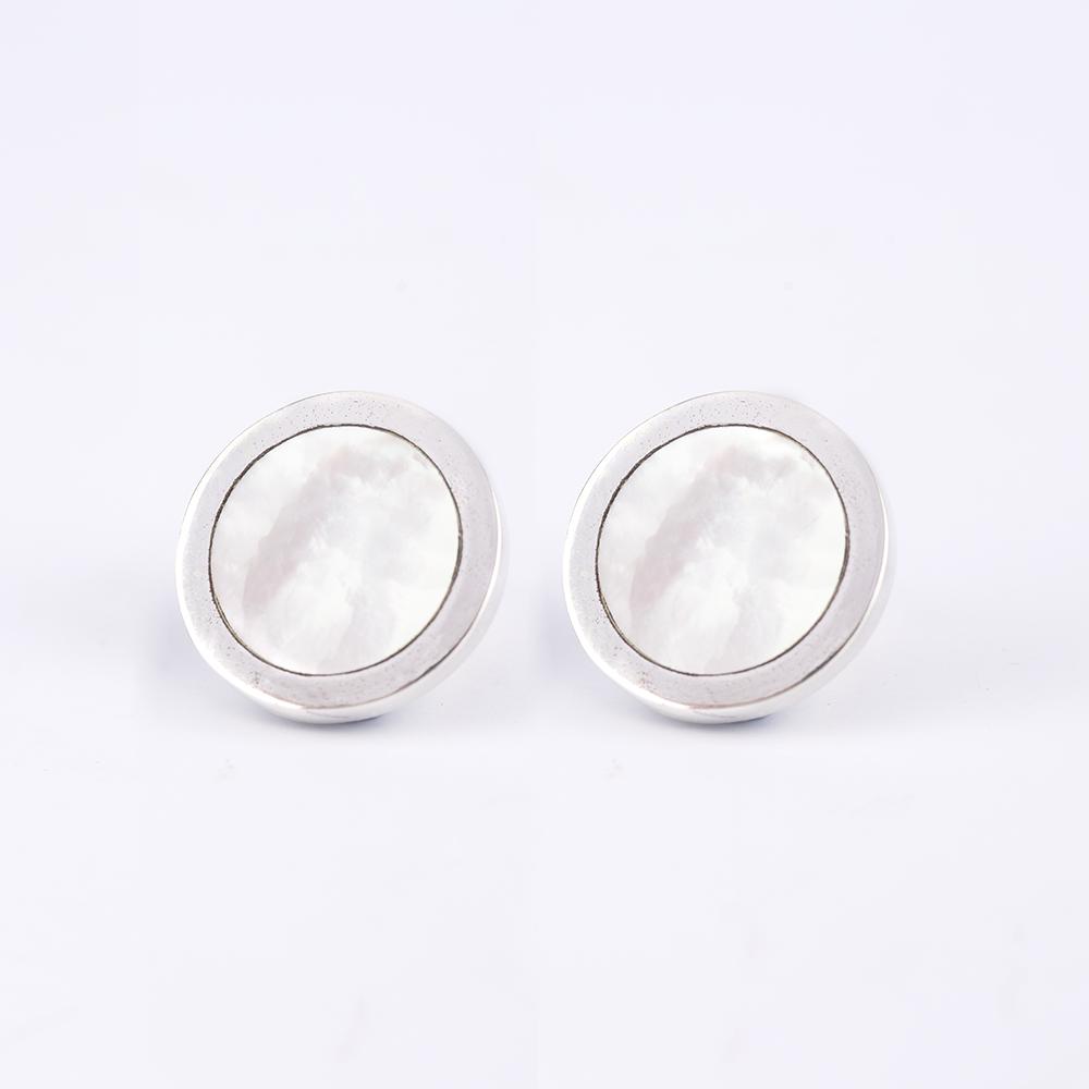 Silver Circular Cufflinks