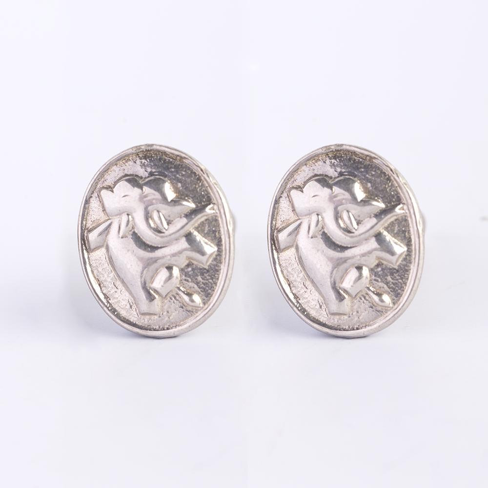 Elephant Emboss Silver Cufflinks