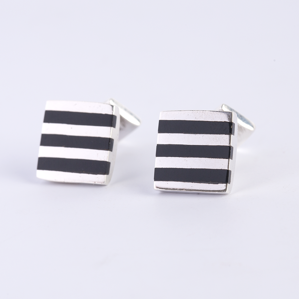 Silver Black Striped Cufflinks
