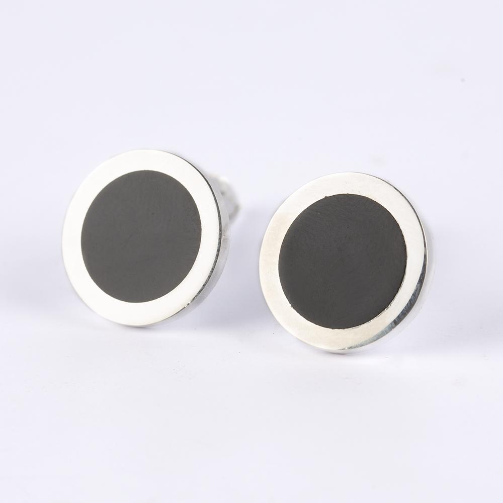 Silver Black Circle Cufflinks