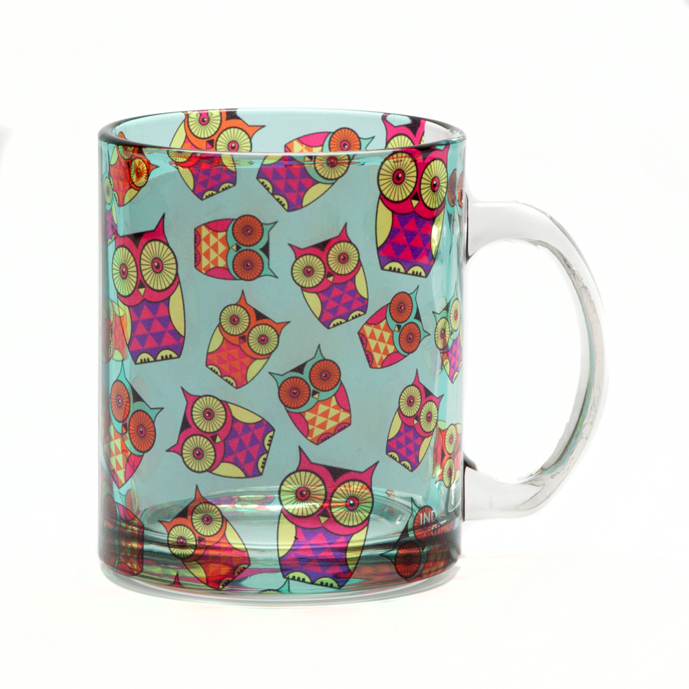 Peeking Owls Glass Mug