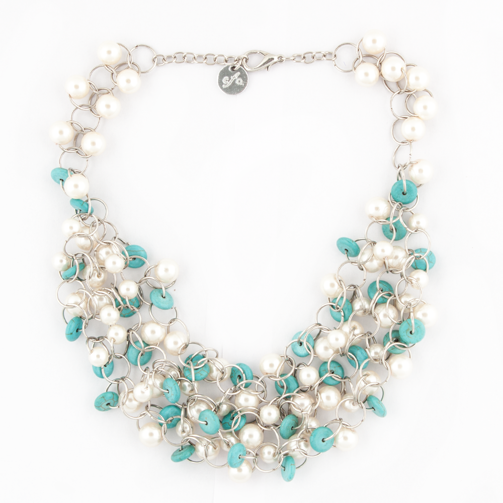 Pearl With Blue Beads Necklace