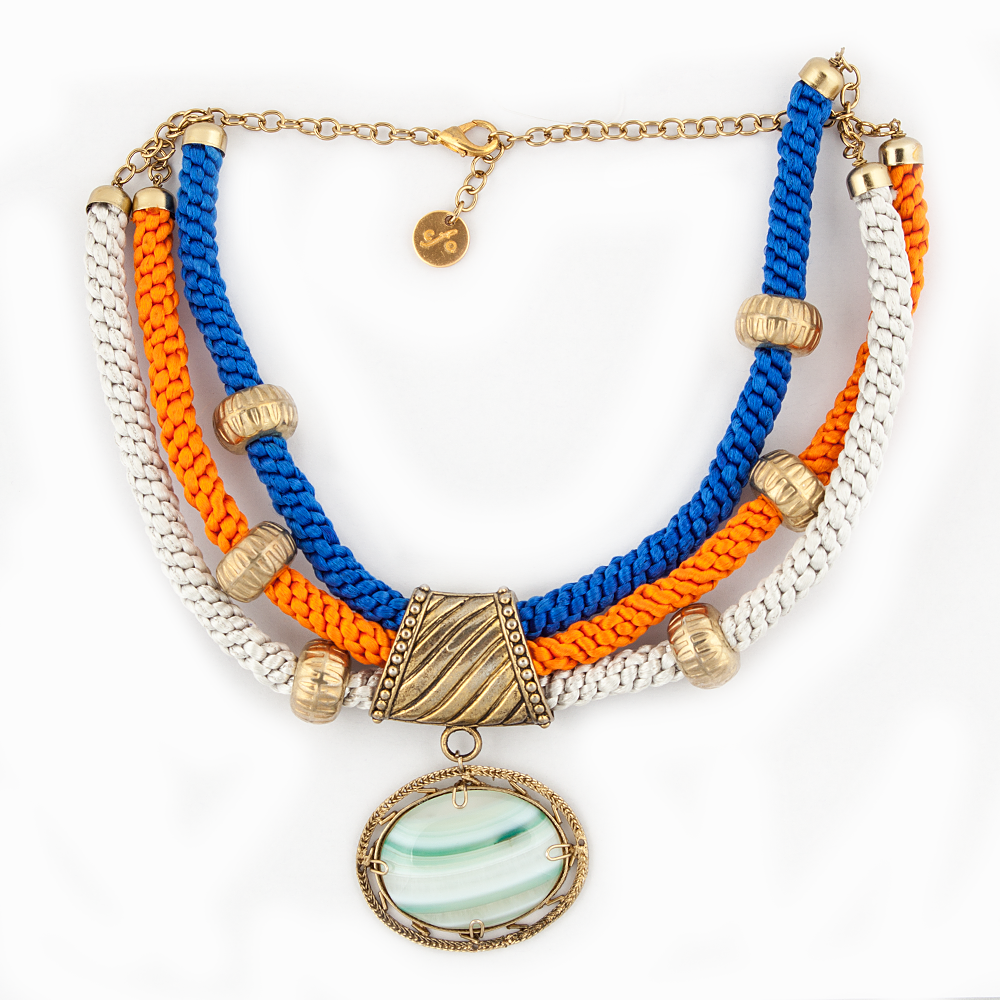 Blue Orange White Necklace