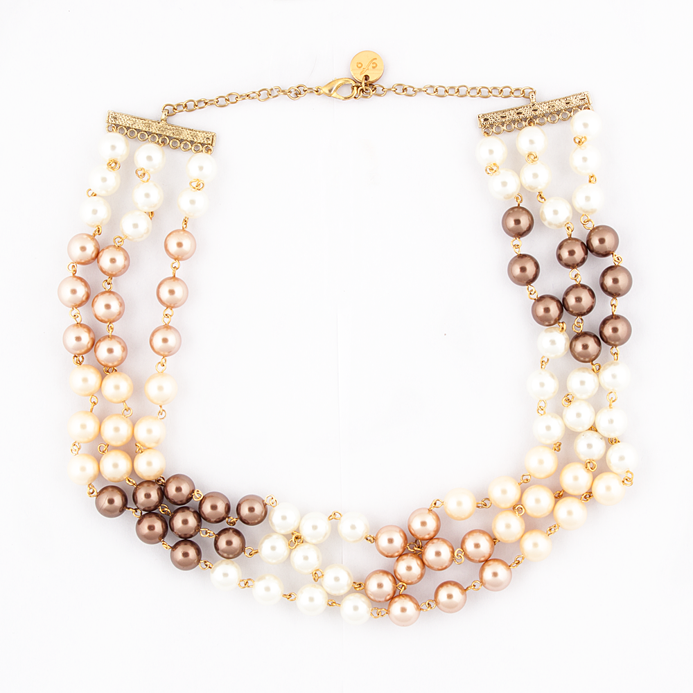 Brown Golden White Pearl Necklace