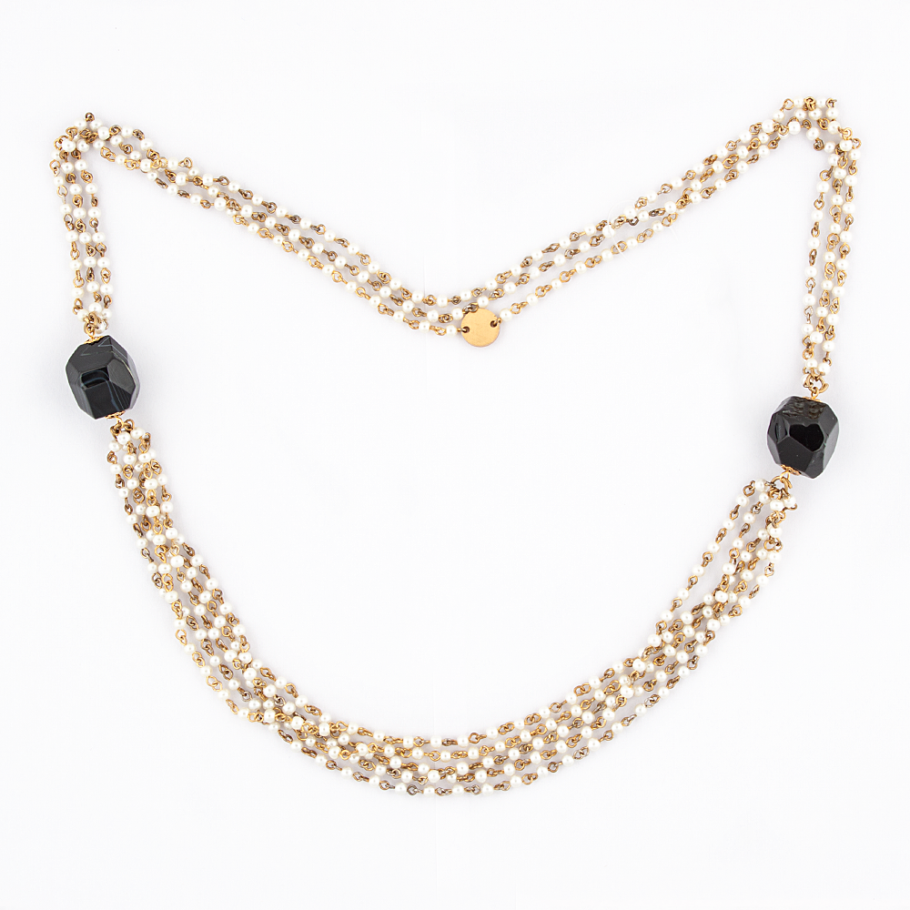 White Pearl Black Stones Necklace