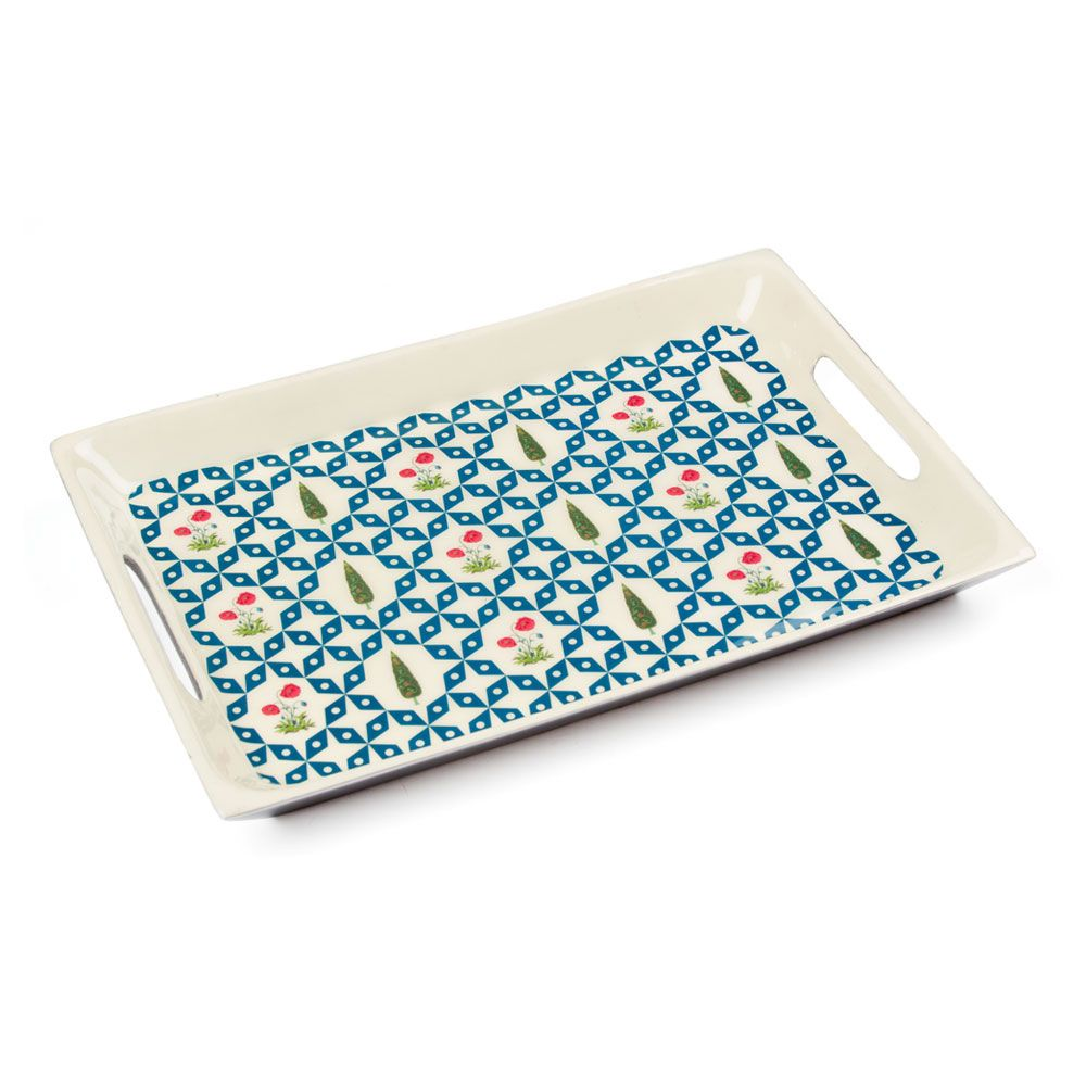 Flowers and Ferns Rectangle Serving Platter