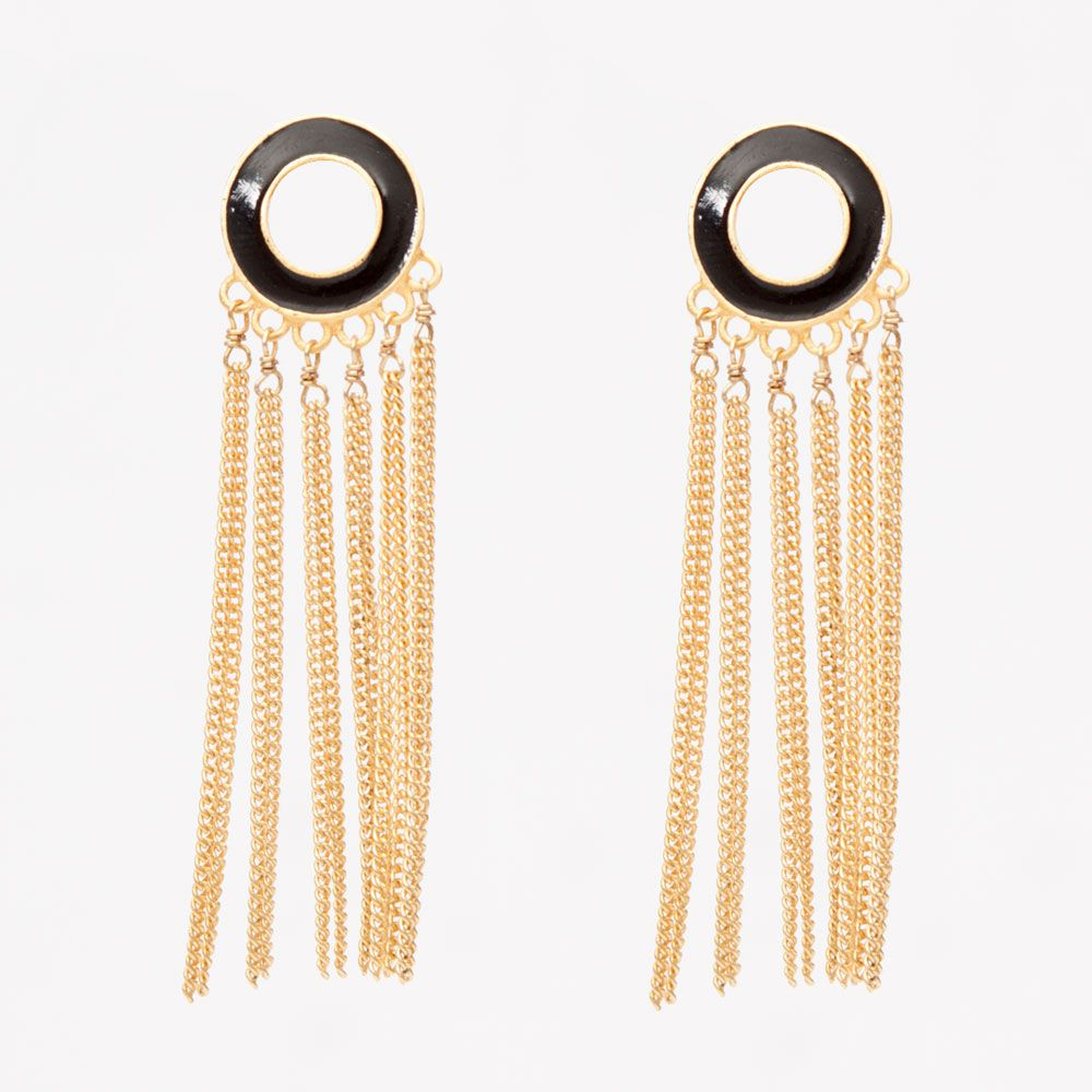 Chainy ring earrings: black