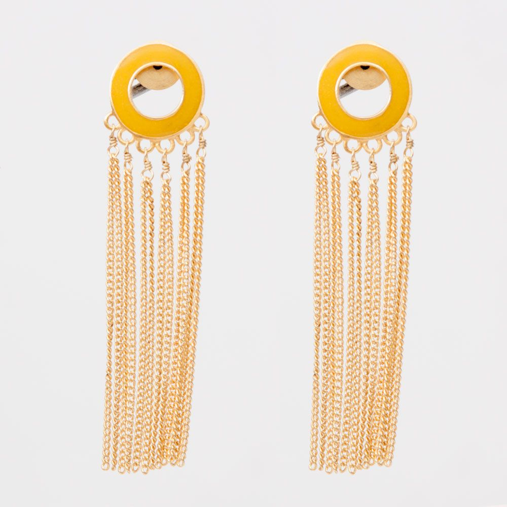 Chainy ring earrings: yellow