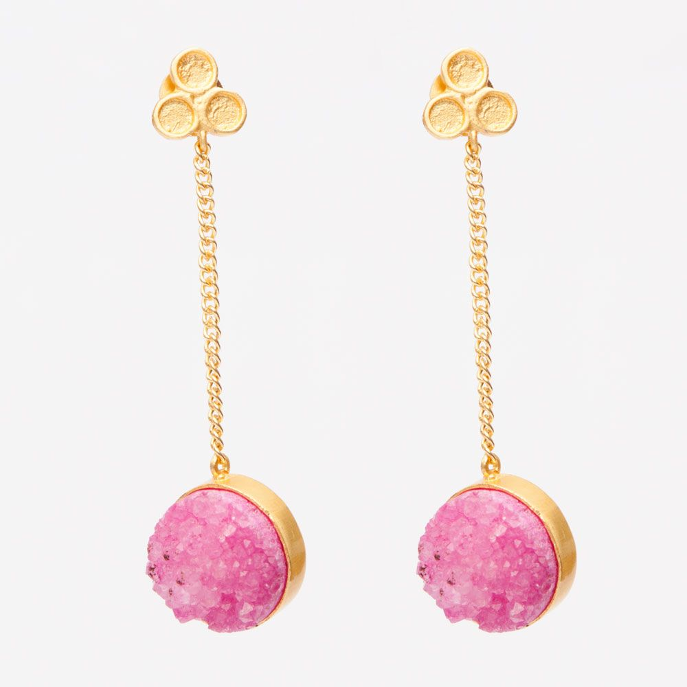 Three dot druzy: pink