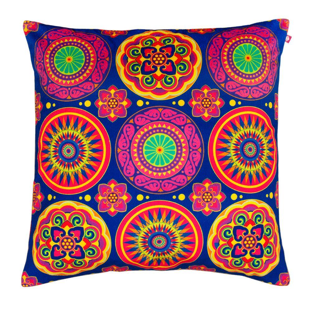 Circular Chaos Poly Velvet Cushion Cover