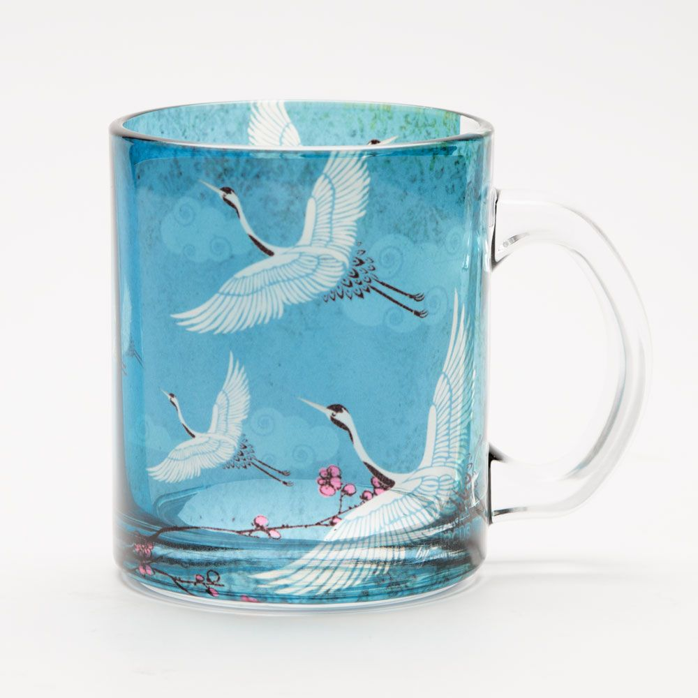 Legend of the Cranes Glass Mug