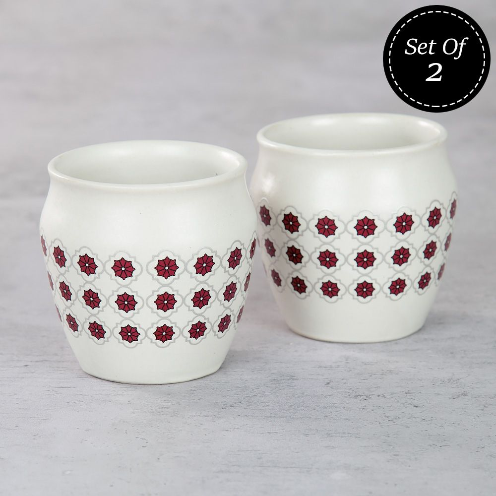 Floral Lattice Kullad (Set of 2)