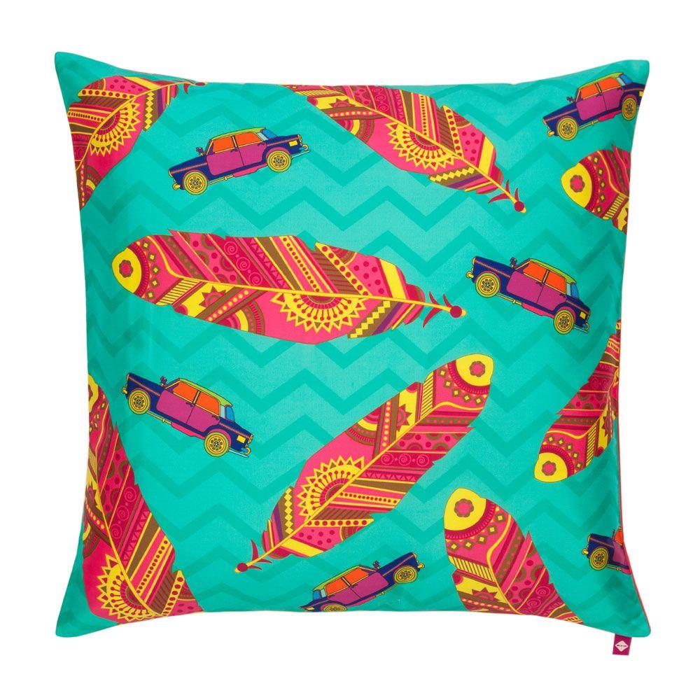 Funky Plume Poly Taf Silk Cushion Cover