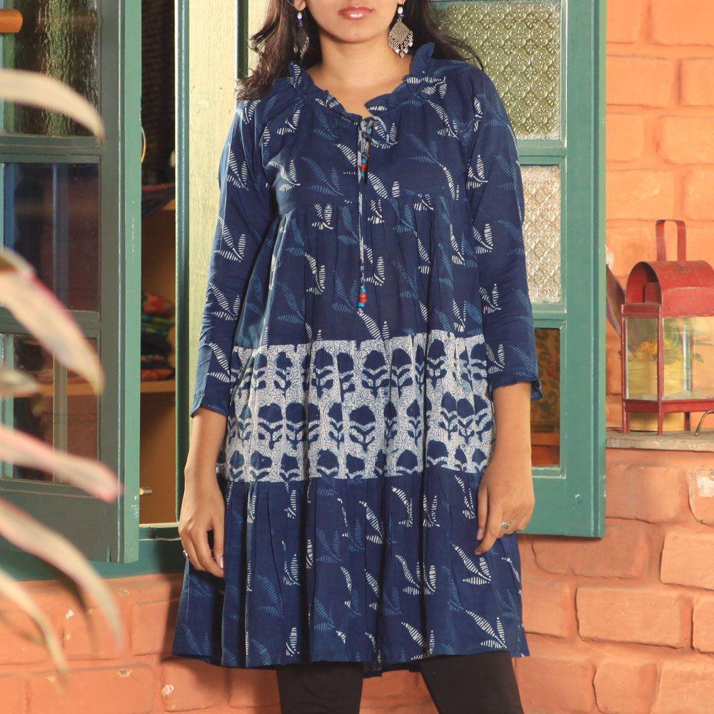 Three pannal long kurta hand print indigo long sleev kurta
