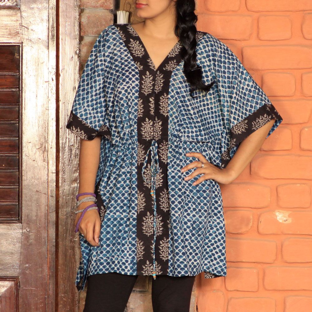 V Neck Kaftan Hand Print indigo with black patti & dori