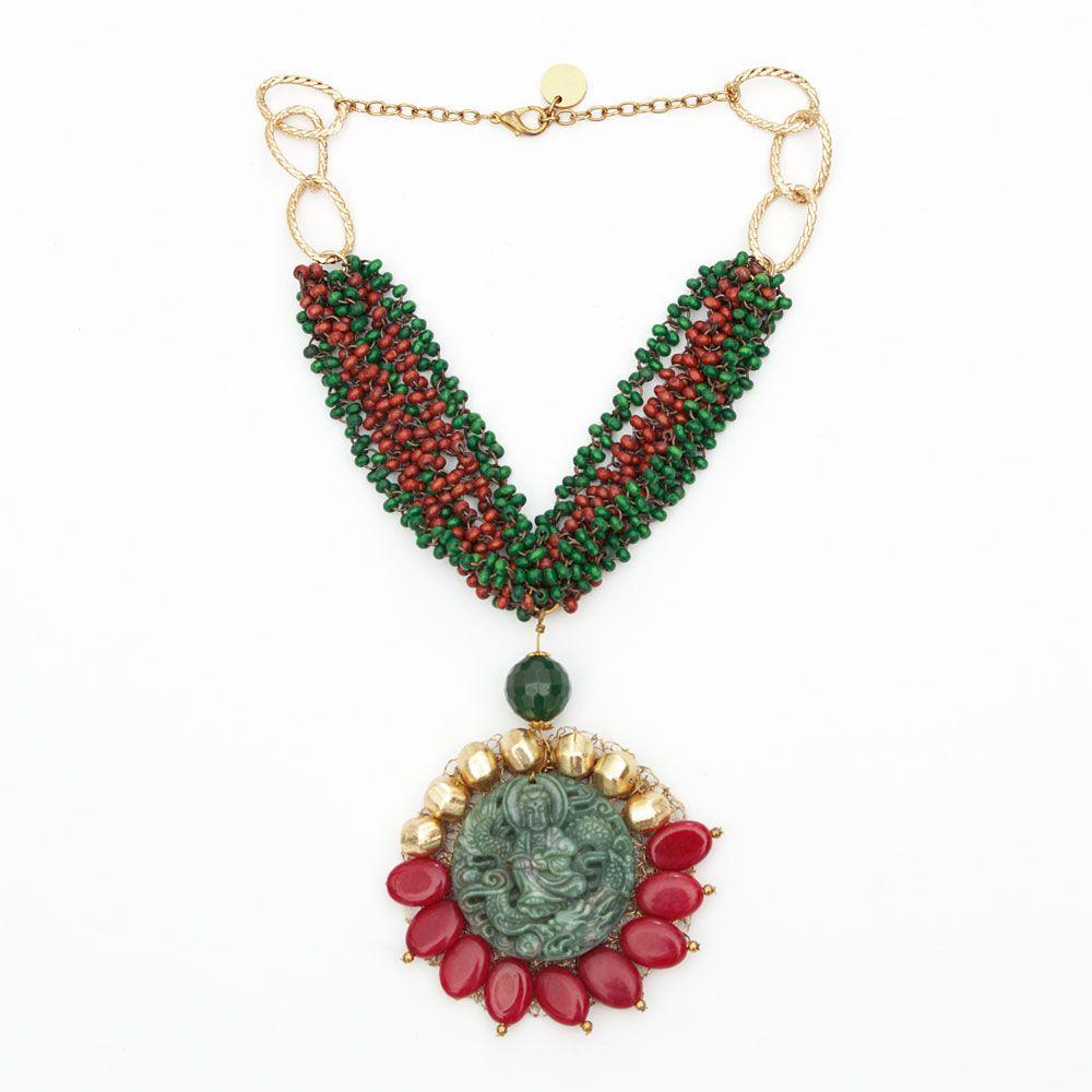 Emerald Saint necklace
