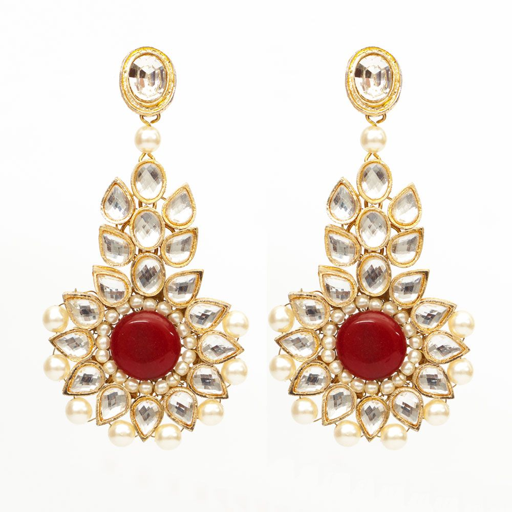 Red and Kundan hanging earrings