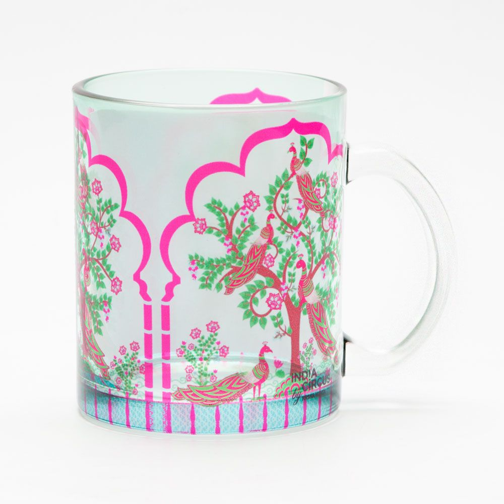Peacock Tales Glass Mug