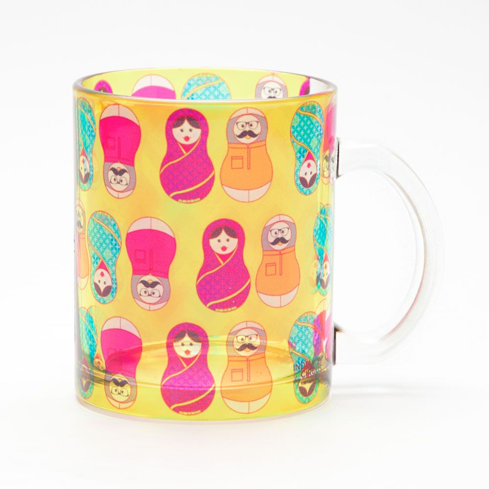 Desi Matryoshka Dolls Glass Mug