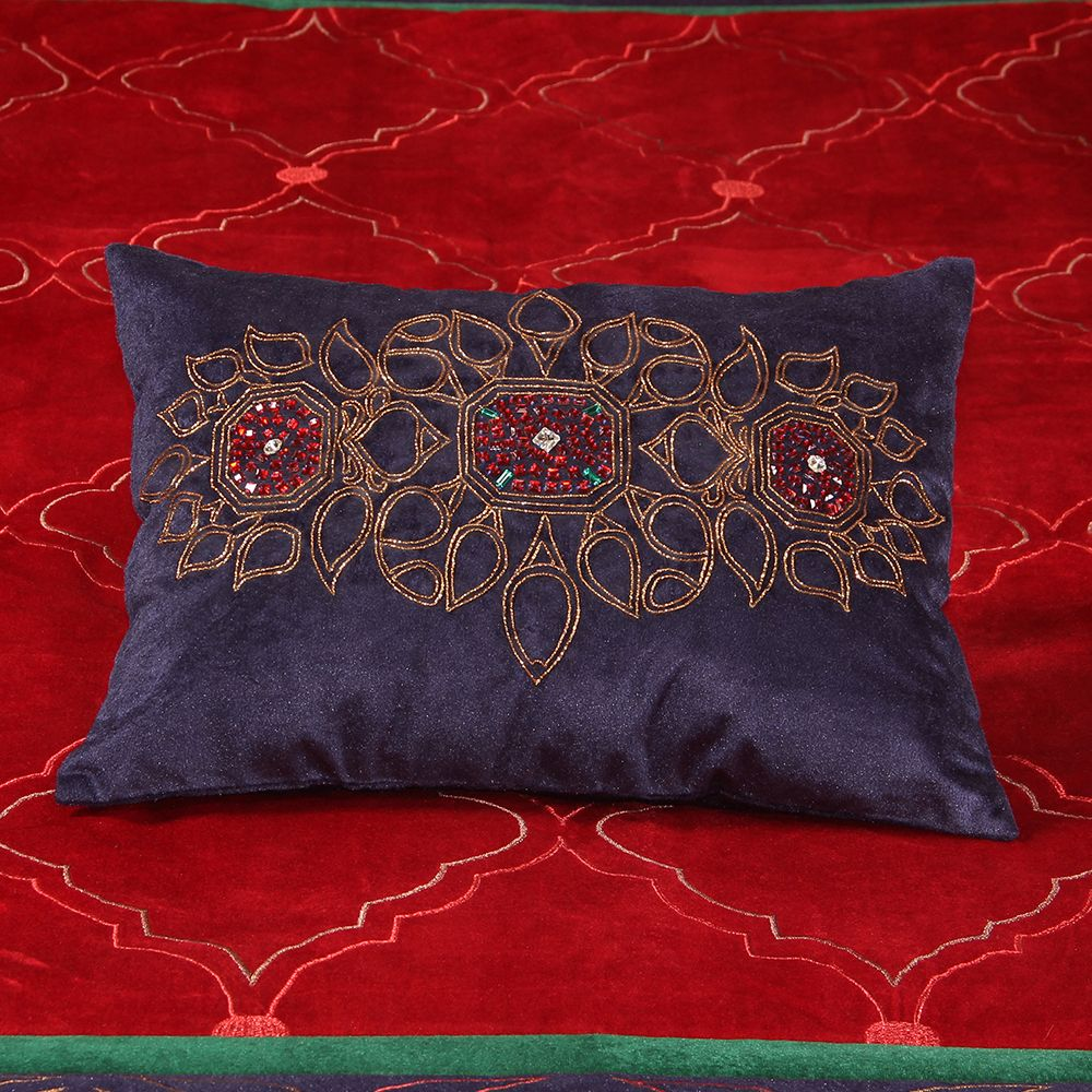 Beauteous Zardosi  Stone work cushion cover