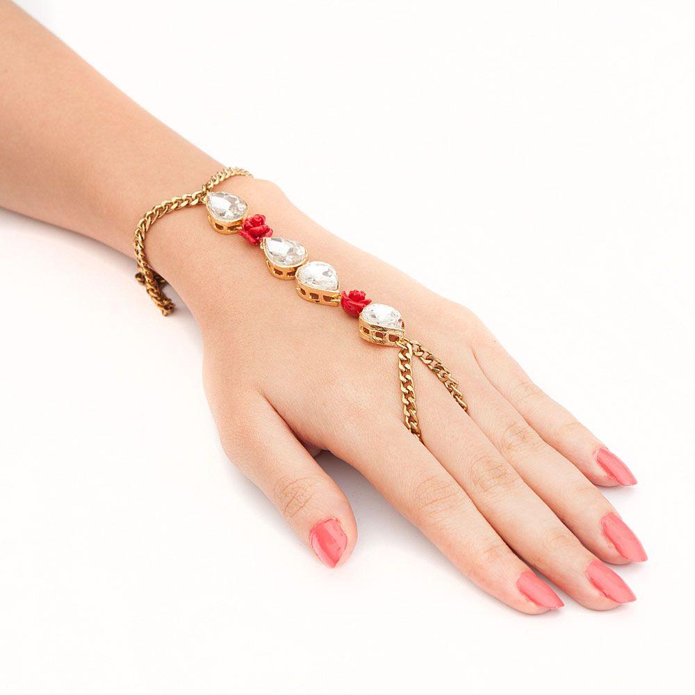 Bling and Roses Ring Bracelet