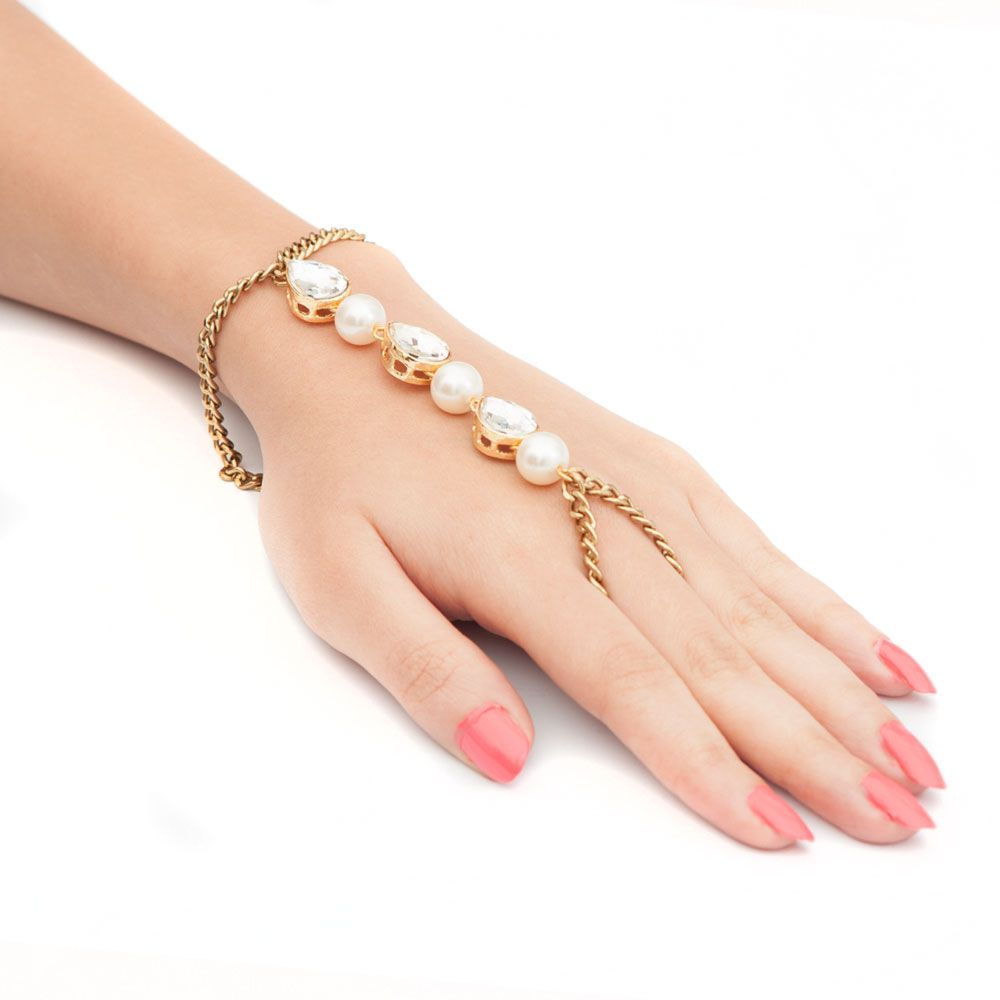 Bling and Pearl Ring Bracelet