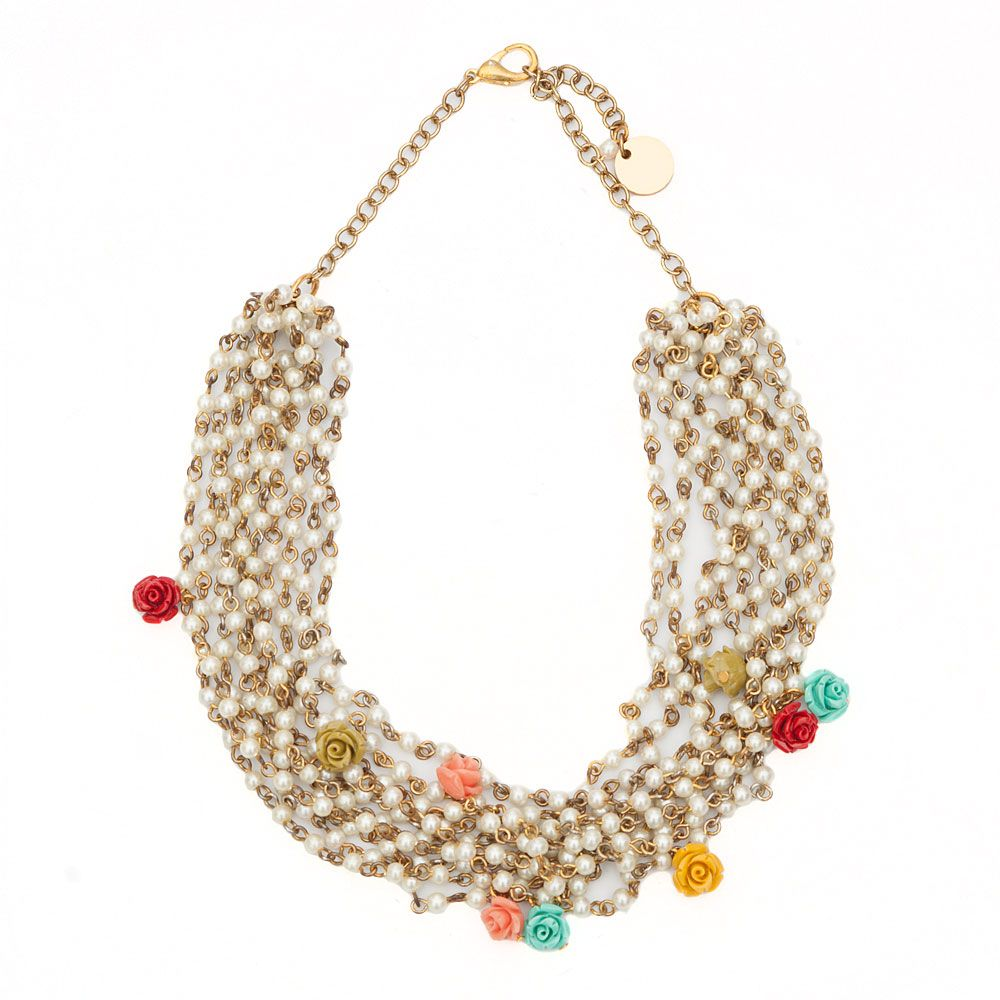 Roses and Pearls Necklace