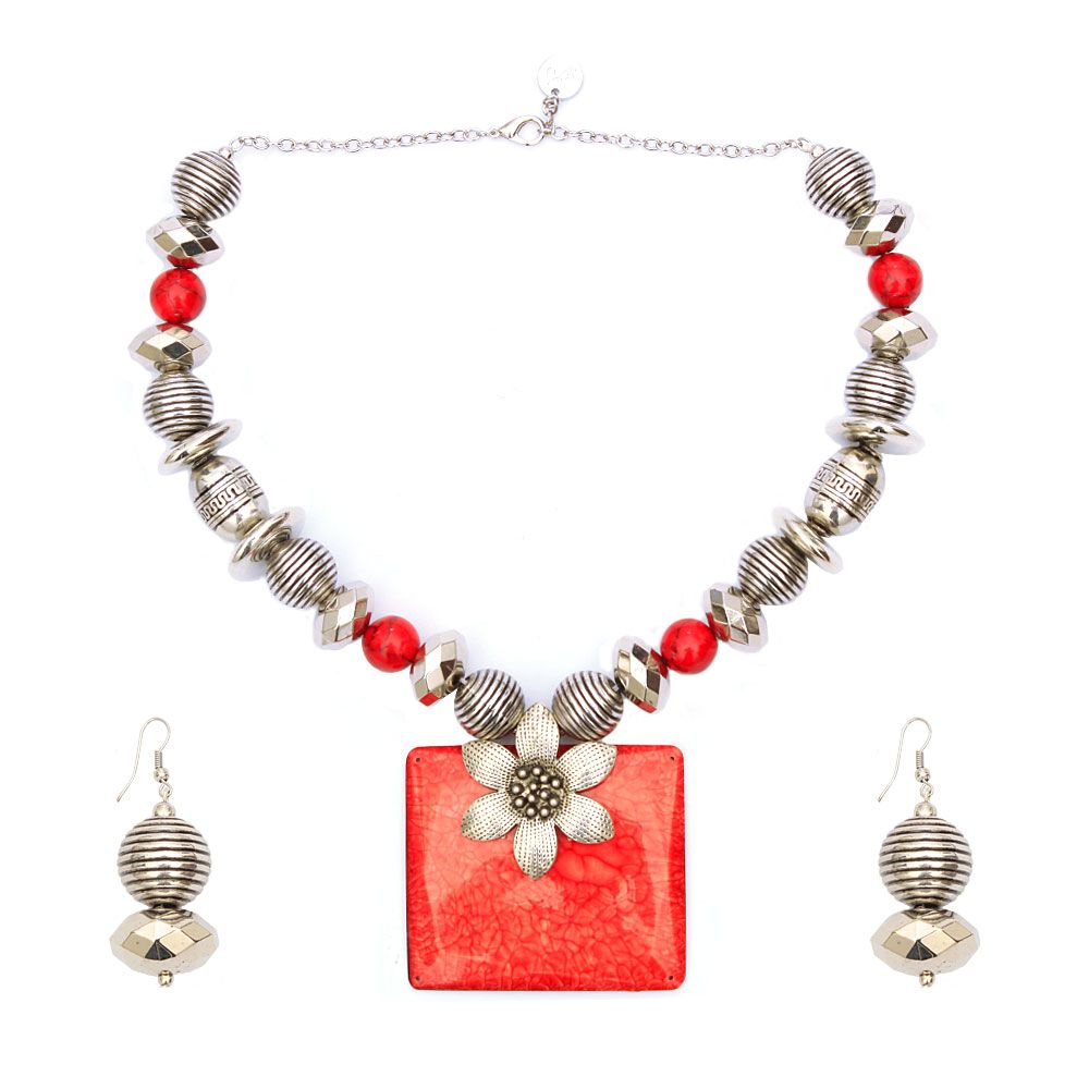 Flaming Glory Necklace and Earring Set